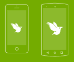 White iNaturalist logo mobile device drawings on green background