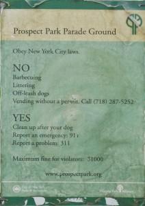 Prospect Park Parade Ground Sign