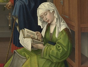 Rogier van der Weyden, about 1399 - 1464 The Magdalen Reading before 1438 Oil on mahogany, transferred from another panel, 62.2 x 54.4 cm Bought, 1860 NG654 http://www.nationalgallery.org.uk/paintings/NG654
