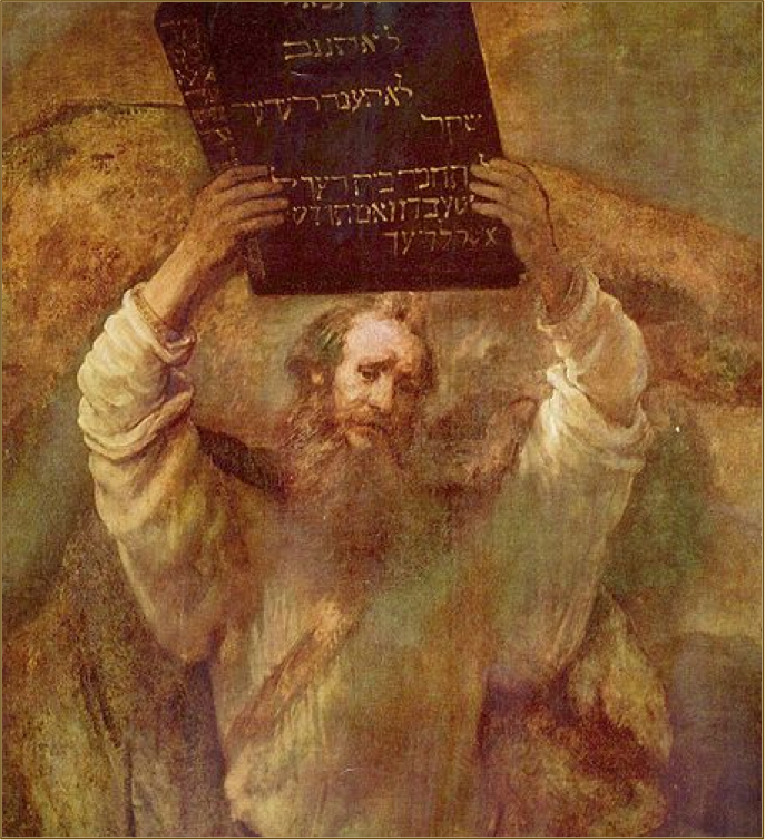 Moses holding the 10 commandment just given to him by God. Painting by Rembrandt Harmenszoon van Rijn dans immagini sacre mount-sinai