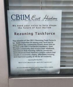 Rezoning Task Force in East Harlem Information Poster