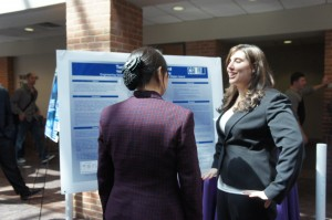 Valerie DeAngelo '11 discusses her research on tunable laser control boards.