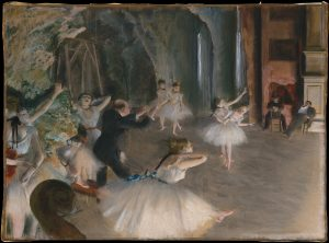 Edgar Degas, The Rehearsal of the Ballet Onstage (ca 1874). Image courtesy of Wikimedia Commons. Public Domain.