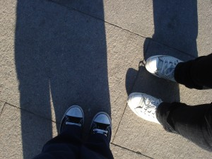 Our feet on Tiananmen Square