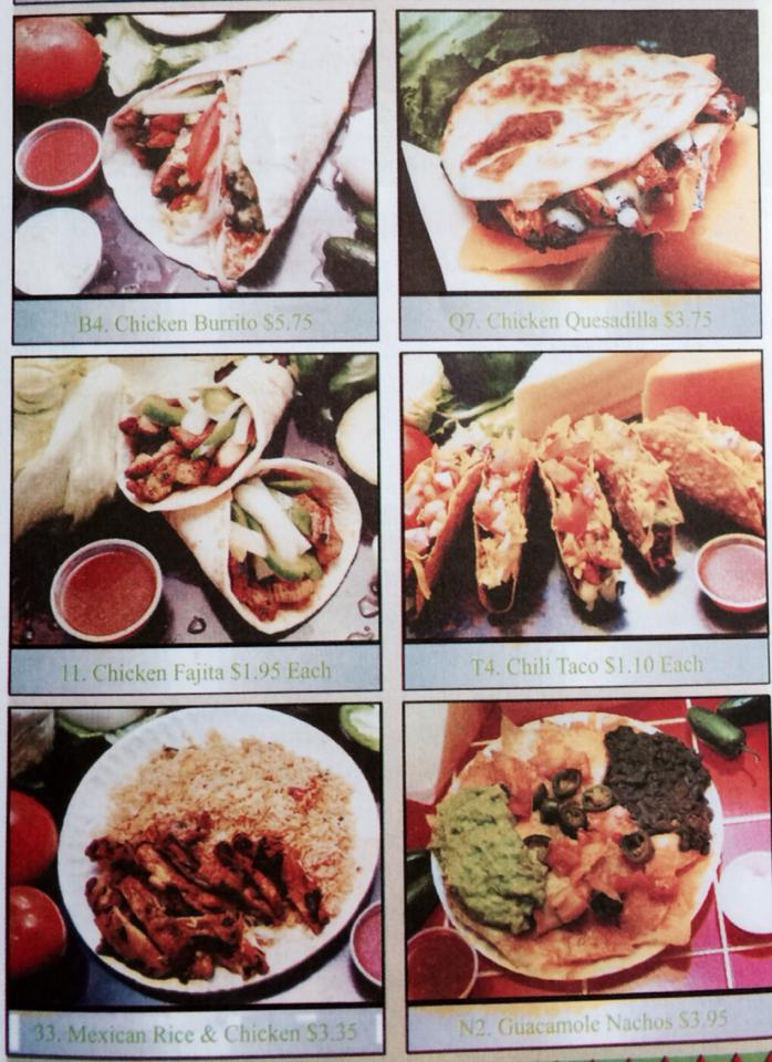 "A snippet of Taco Bandito's menu. All items on the complete menu are under $6.95, with the exception of ""Fajitas by the Pound."""