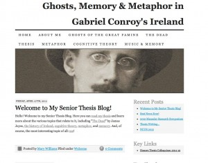 "Mary Williams' thesis web site examines James Joyce's ""The Dead"" via the lens of cognitive theory. The web site extends and provides audio-visual material about her thesis project, and also chronicles the process of writing a thesis in Macaulay's thesis colloquium course."