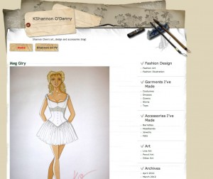 I use my Eportfolios blog mainly to share my artwork, fashion designs, crafts and sewing projects as I complete them. When I can't bring my actual portfolio with me, I usually give interested parties this link so they can get a good idea of what I do. One thing the blog can do that my regular portfolio can't is give my readers some of the more candid shots, like the early draft of an illustration, a step-by-step process of how I go about getting one of my drawings done or even something I wouldn't normally put in my portfolio such as the greeting cards I designed.
