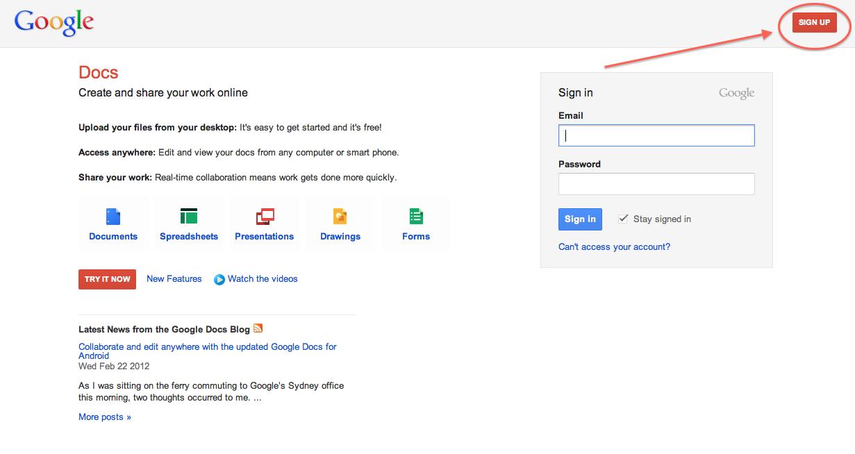 Using Google Docs The Peopling Of New York Spring - Google docs sign up