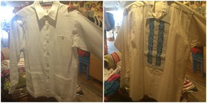 The guayabera on the left is long-sleeved. The guayabera on the right is short-sleeved with some color on the front as well as an intricate design