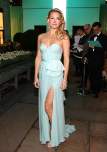 Actress Kate Hudson wearing Reem Acra at the Tiffany & Co. Blue Book Ball in 2013