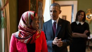 Saheela Ibraheem with President Barack Obama and the First Lady, Michelle Obama.