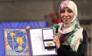 Tawakkol Karman with her Nobel Peace Prize award.